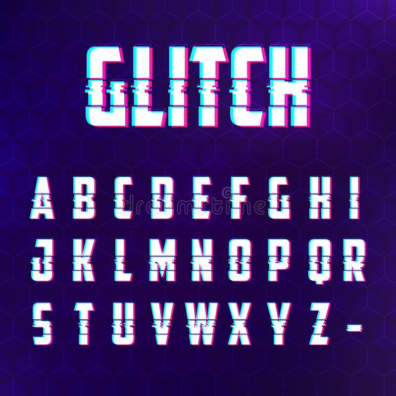 Glitch distorted effect font set royalty free illustration