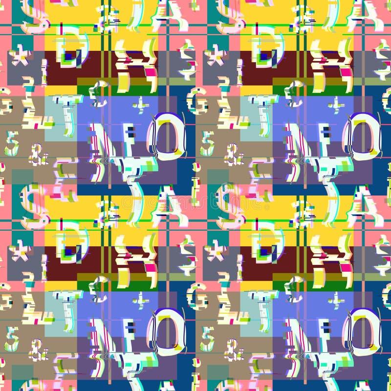 Glitch distortion seamless pattern royalty free illustration
