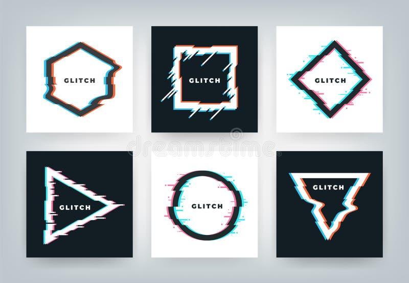 Glitch effect affiches Retro futuristische vormen van de vervormings dynamische meetkunde, minimale abstracte achtergrond De vect vector illustratie