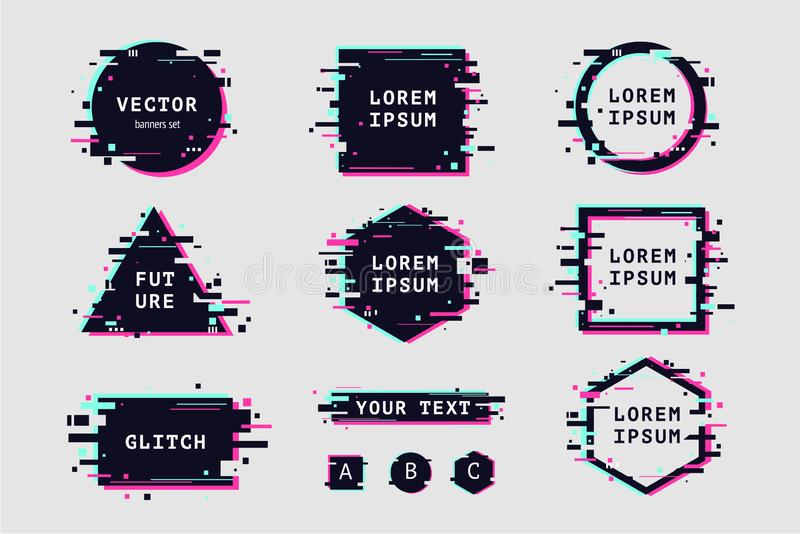 Glitch effect banners and frame set. Futuristic design with glitchy abstract shapes. Vector clipart elements. royalty free illustration