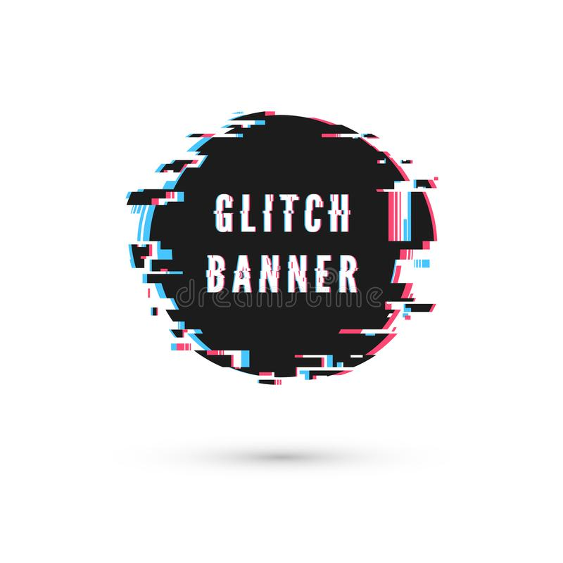 Glitch effect. Circle advertising banner. Digital technology poster. Vector illustration isolated on white background.  stock illustration