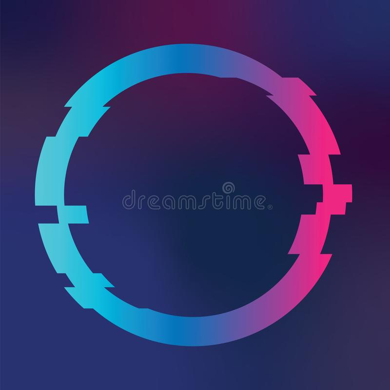 Modern Music Poster With Glitch Triangle: Glitched Circle Frame Stock Vector. Illustration Of
