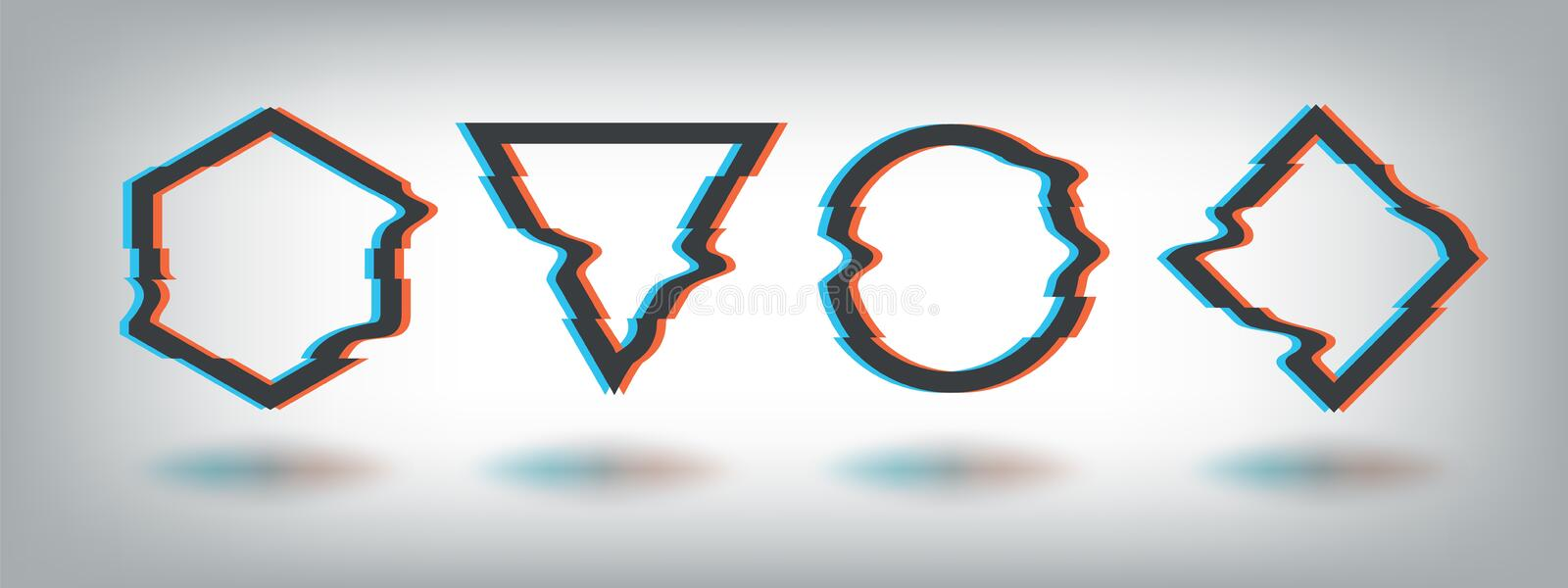 Glitch effect frames. Distorted noise shape, vhs tv defect, dynamic abstract music logo, circle square triangle vector royalty free illustration