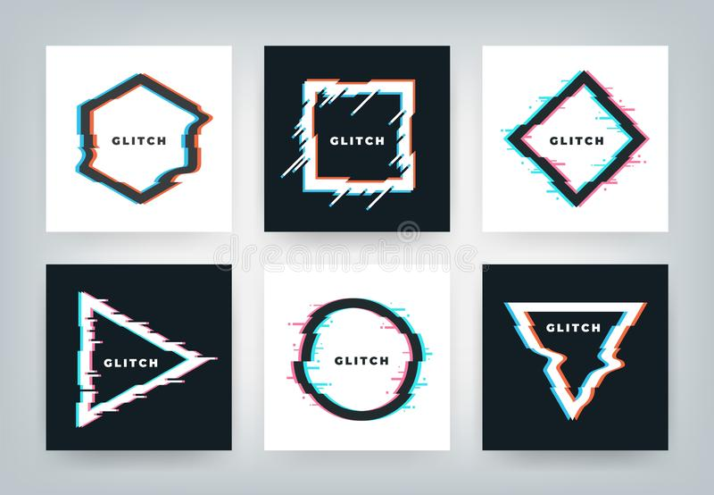 Glitch effect posters. Retro futuristic distortion dynamic geometry shapes, minimal abstract background. Vector glitched vector illustration