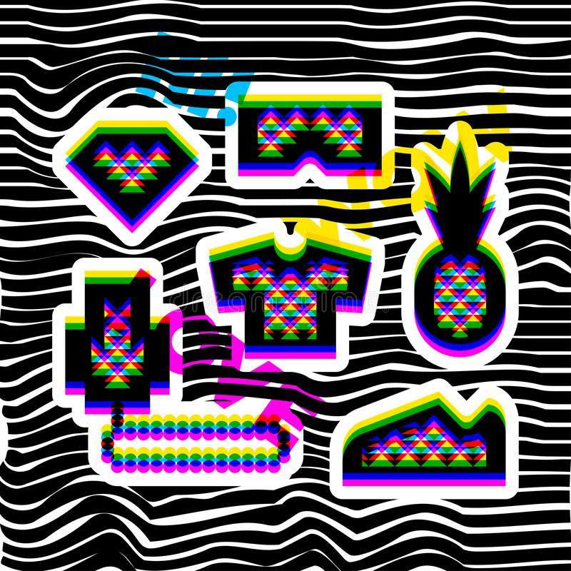 Glitch effect social network stickers in hip hop style. Contemporary geometric design elements in multiply blend mode stock illustration