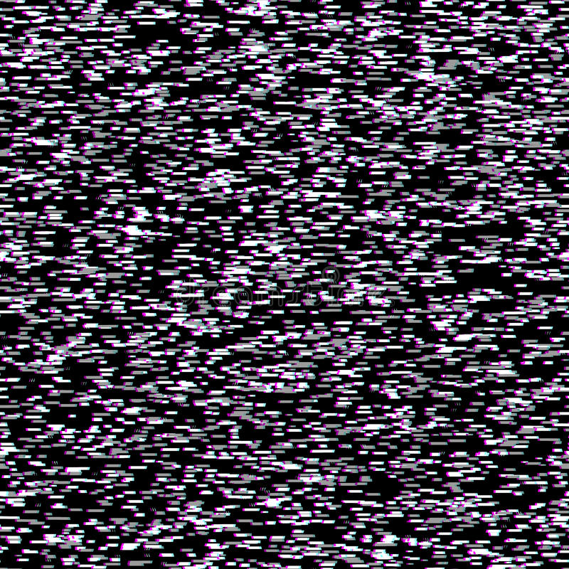 glitch effect TV interference seamless pattern. televisor Distorted style background royalty free illustration