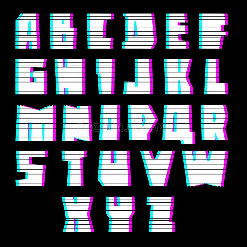 Glitch font with interference, uppercase stock illustration