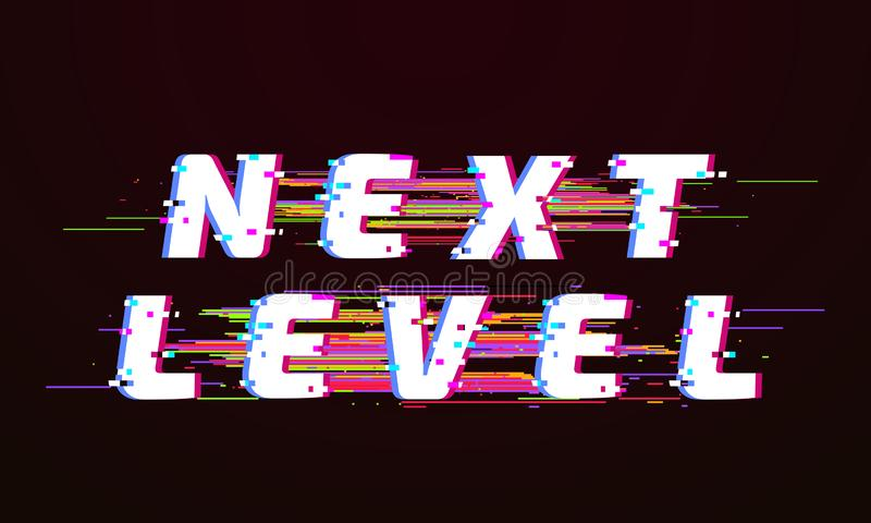 Glitch font. Next level distorted tv glitched script screen vector illustration stock illustration