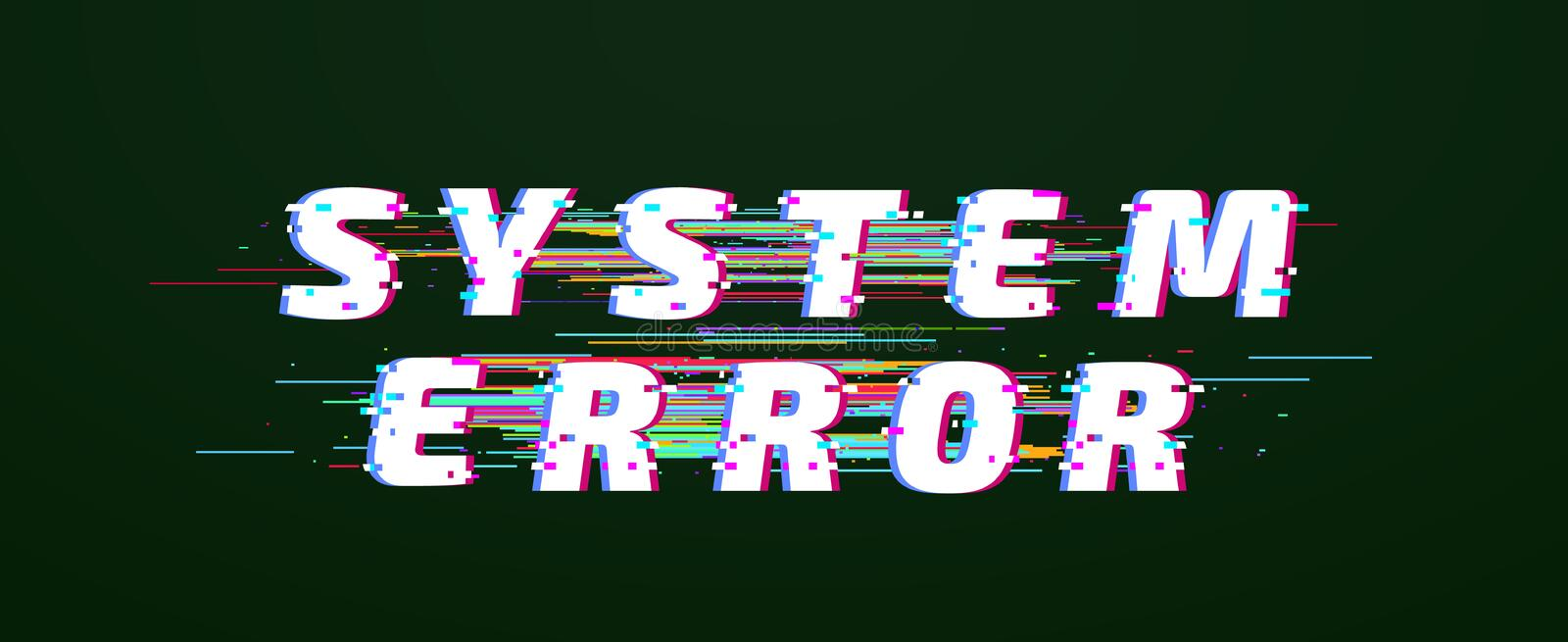 Glitch font. System error digital distorted glitched text vector stock illustration