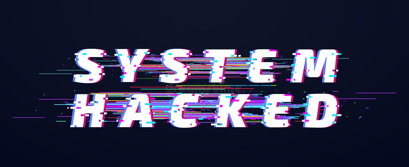 Glitch font. System hacked alphabet or digital text vector illustration background royalty free illustration