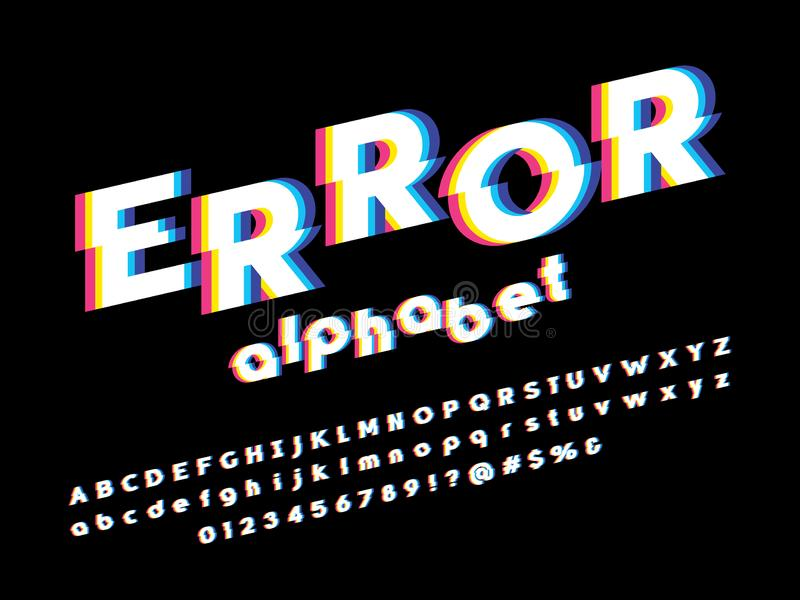 Glitch font. Vector glitch display font design stock illustration