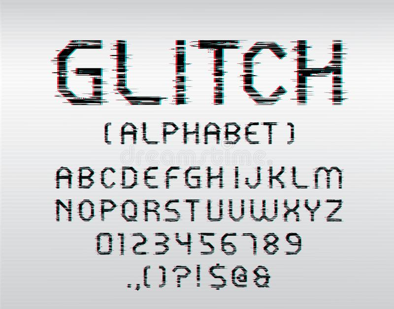 Glitch font. Vector glitch display font with uppercase and numbers vector illustration