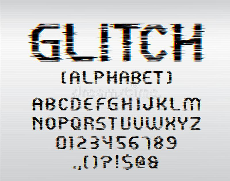 Glitch font. Vector glitch display font with uppercase and numbers royalty free illustration