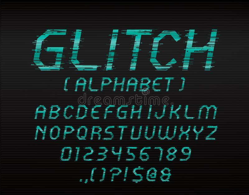 Glitch font. Vector glitch display font with uppercase and numbers stock illustration