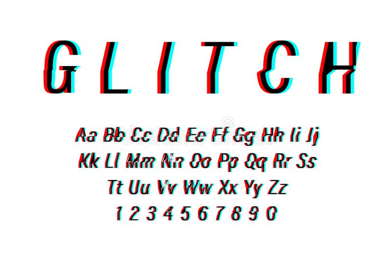 Glitch font on white background. Alphabet letters with numbers in Glitch design. Trendy style distorted glitch typeface. Letters vector illustration