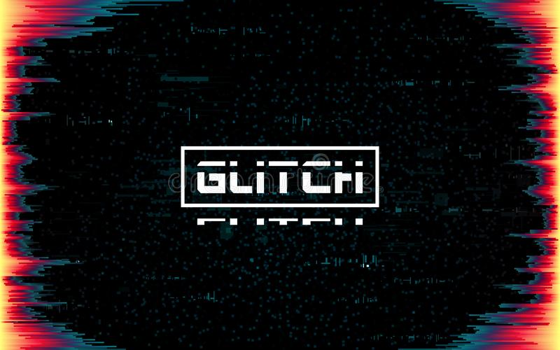 Glitch frame on dark backdrop. Color distortions and pixel noise. Cyberpunk template with distorted lines. Futuristic banner with vector illustration