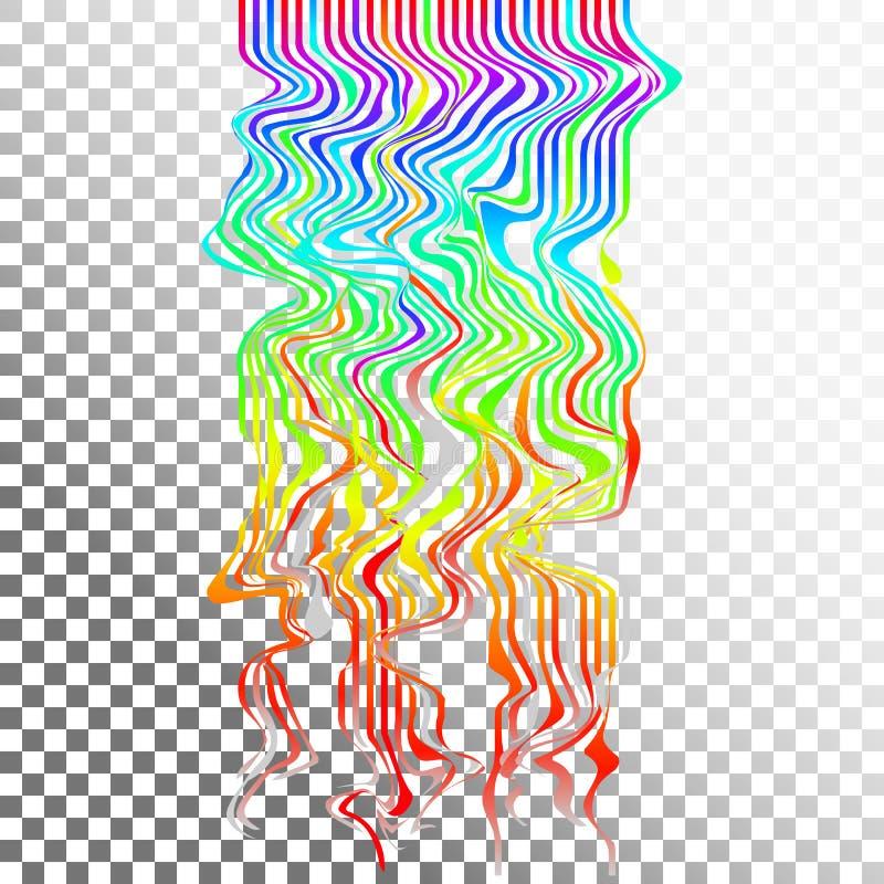 Glitch golven achtergrondart. Digitaal abstract het lawaaieffect van pixel curvy lijnen stock illustratie