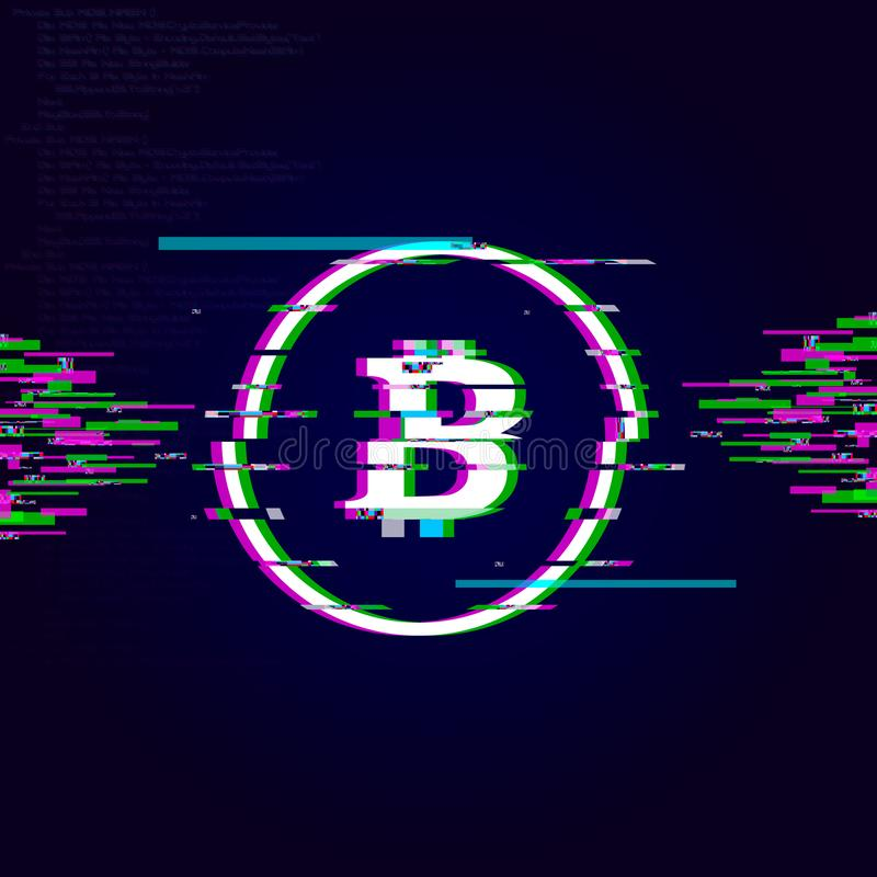 Glitch het teken van Bitcoin, crypto muntglitch effect vector illustratie