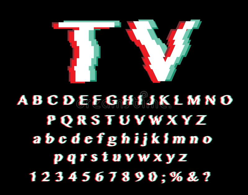 Glitch italia. Distorted glitch typeface alphabet in italian flag colors, letters and numbers vector illustration