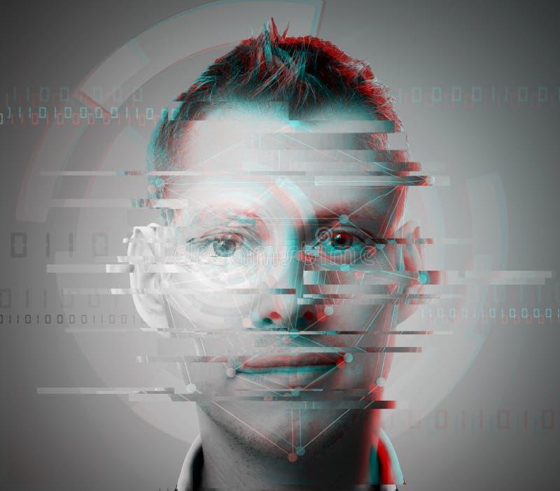 Glitch man face closeup stock image