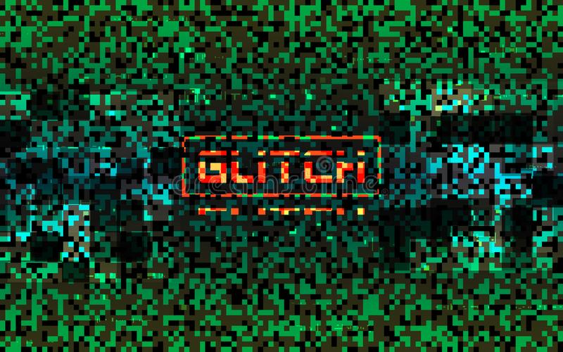 Glitch matrix concept. Green pixel composition with color distortions. Data error visualization. Color pixel noise. Hacker texture with digital chaos. Broken stock illustration