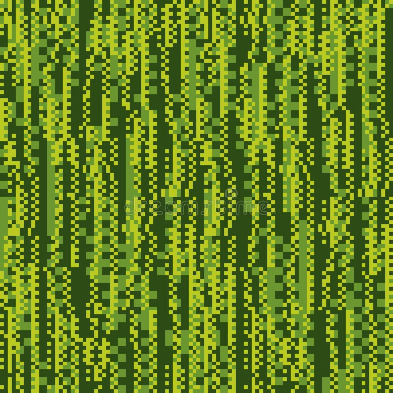 Glitch, matrix flat vector seamless pattern. Chaotic green background. Pixel art style texture. Technical problem, static noise illustration. Geometrical royalty free illustration