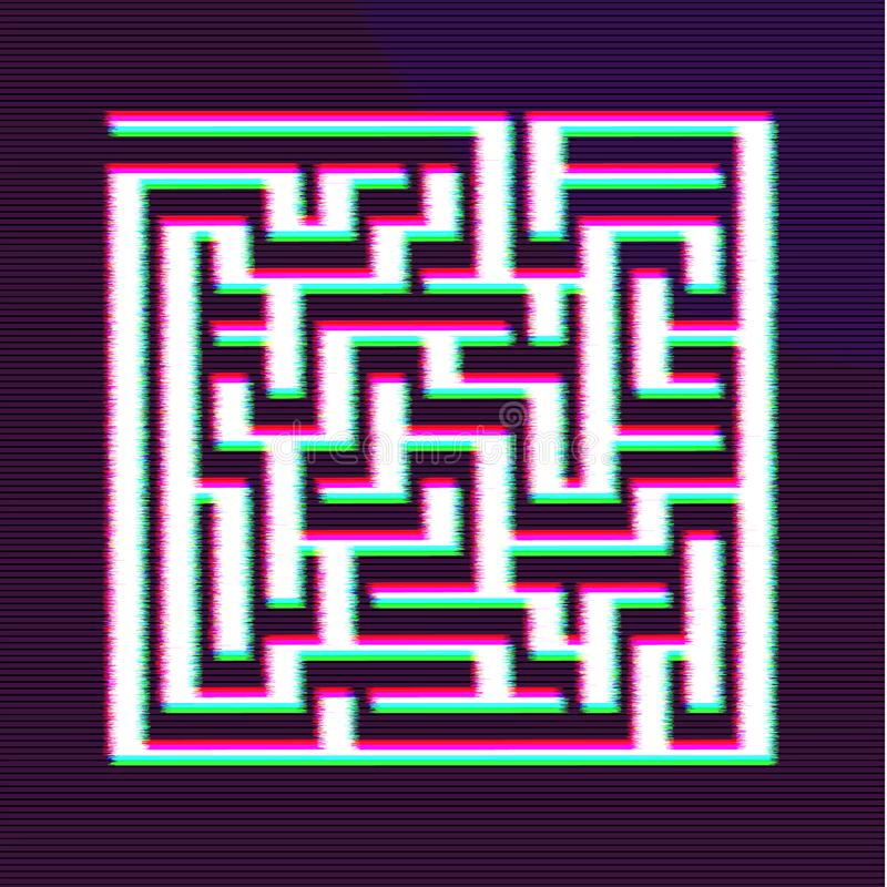 Glitch Maze BG Design. Making Decision Concept vector illustration
