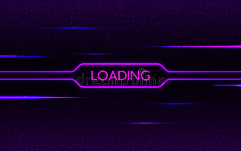 Glitch neon loading. Cyberpunk futuristic concept. Purple and blue glowing lights on dark pixel background. Creative stock illustration