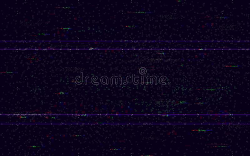 Glitch no signal. Minimal VHS backdrop. Video problem template. Pixel noise and color digital distortions. Video game glitch. HDTV vector illustration