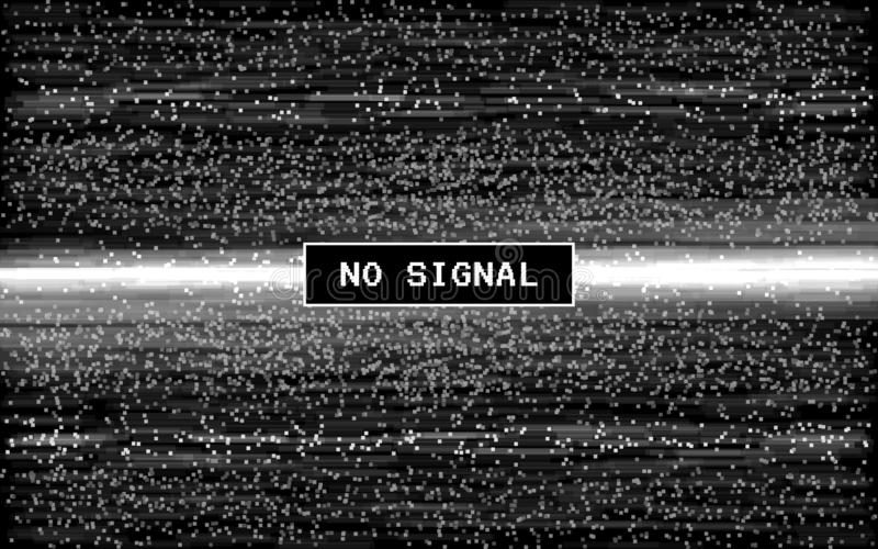 Glitch no signal. Retro VHS effect. Pixel digital noise on black background. Old video template. Glitched lines noise royalty free illustration