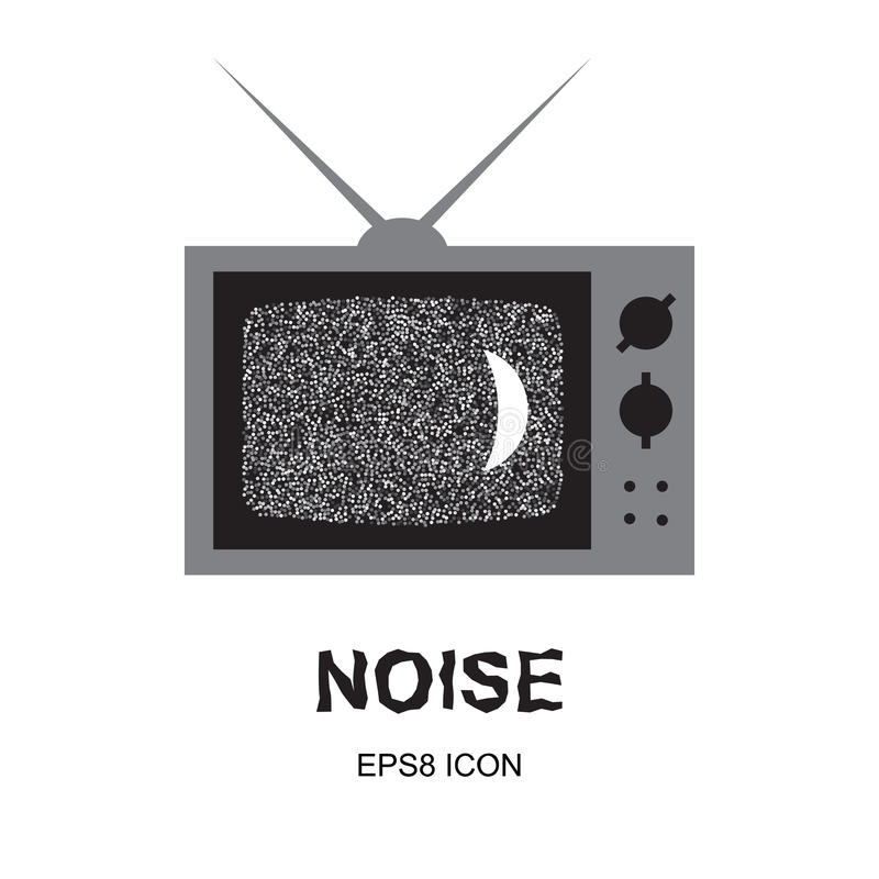 Glitch or Noise TV. Glitch Abstract Background. TV Noise or Interference Illustration with Old Television stock illustration
