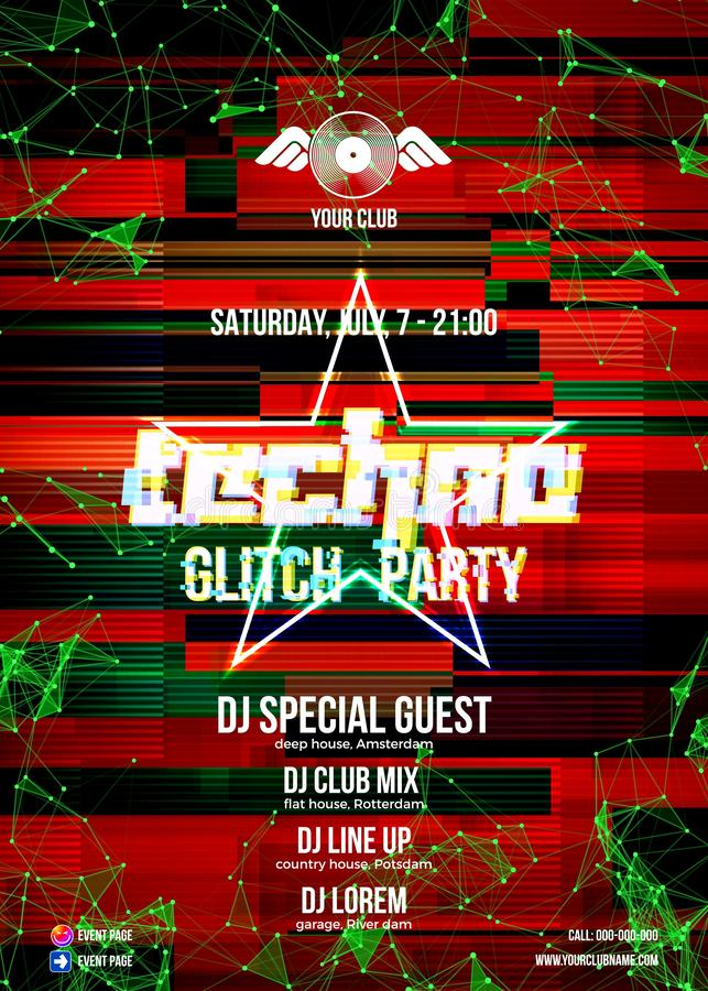 Glitch party poster with red background and star for techno rave club nights. Advertising leaflet or flyer with modern electronic music dance party stock illustration