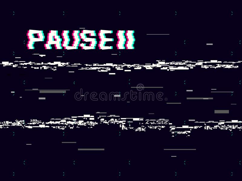 Glitch pause with symbol on dark background. Retro VHS backdrop. Abstract white distortions. Video cassette effect royalty free illustration