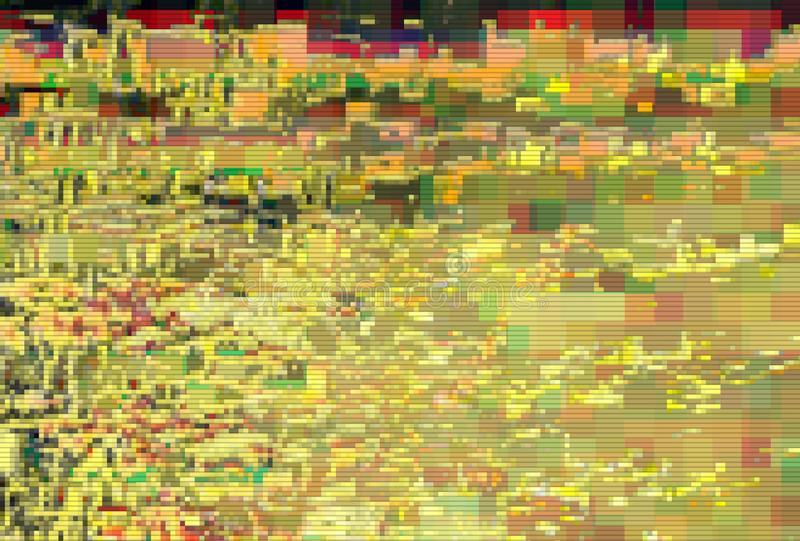 Glitch pixel data moshing digital noise,  abstract yellow. Glitch pixel data moshing digital noise screen background,  abstract yellow royalty free illustration