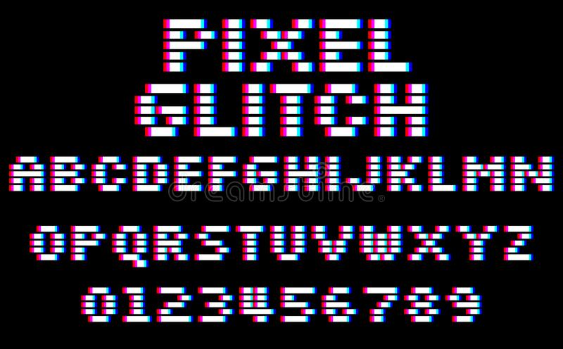 Glitch pixel font. Set of 8 bit style latin letters and numbers stock illustration