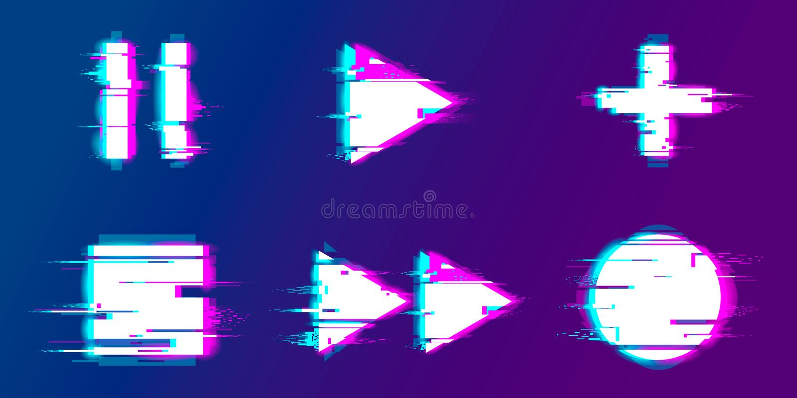 Glitch play, pause, record, play buttons vector illustration