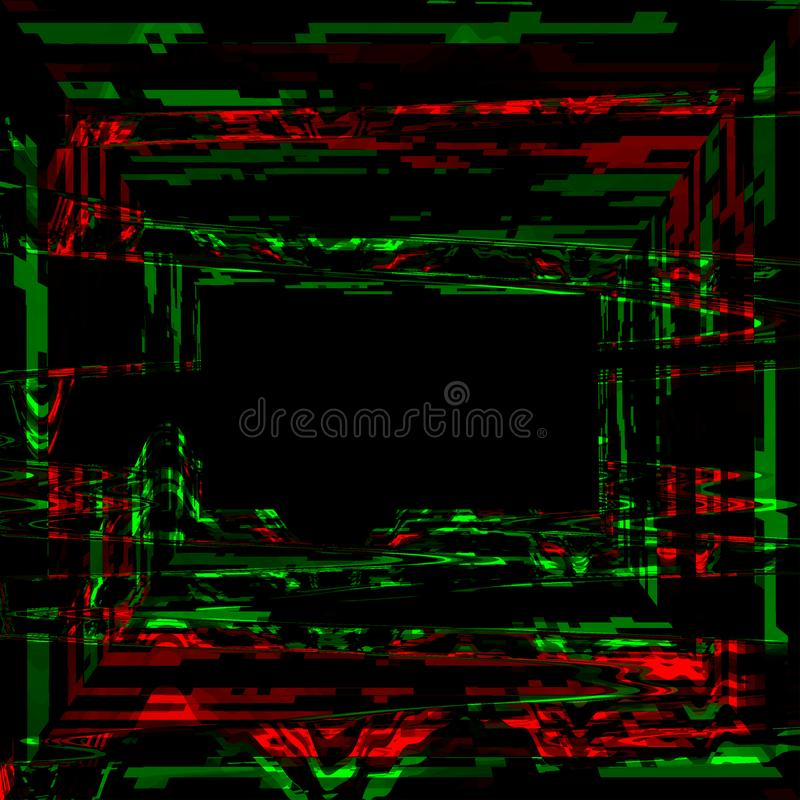 Glitch psychedelic background. Cyber room, digital pixel noise abstract design.Television signal fail. Technical problem, data dec stock illustration