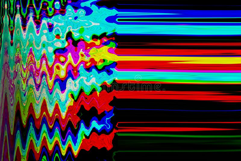 Glitch psychedelic background. Old TV screen error. Digital pixel noise abstract design. Photo glitch. Television signal royalty free stock photography