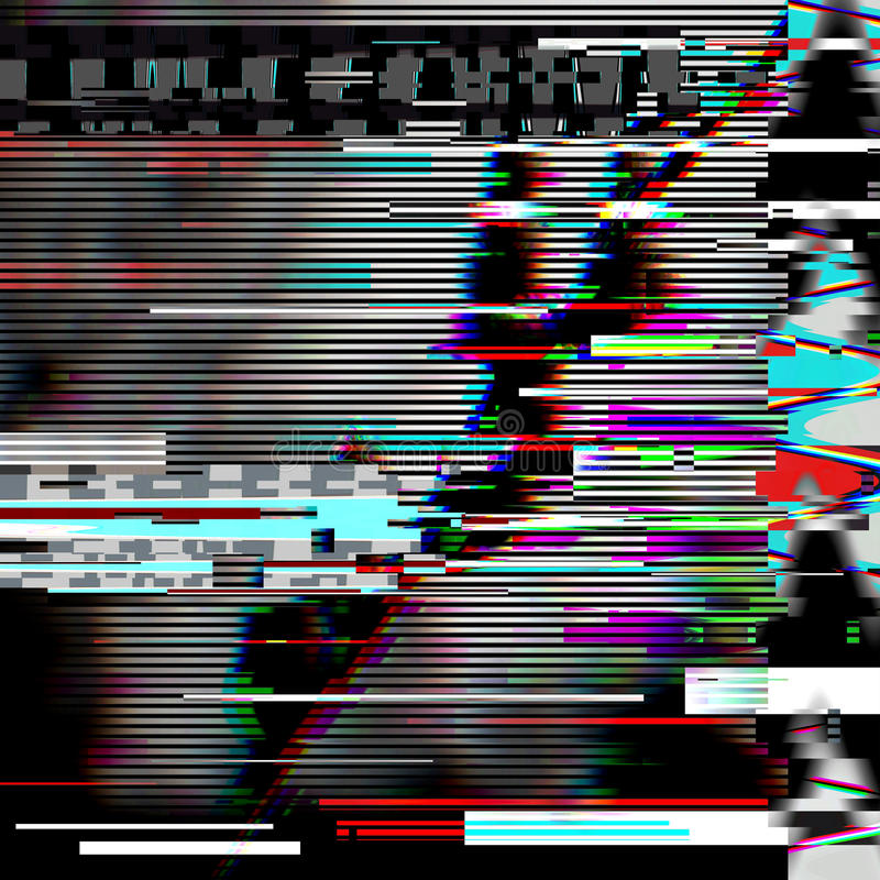Glitch psychedelic background. Old TV screen error. Digital pixel noise abstract design. Computer bug. Television signal royalty free stock photos