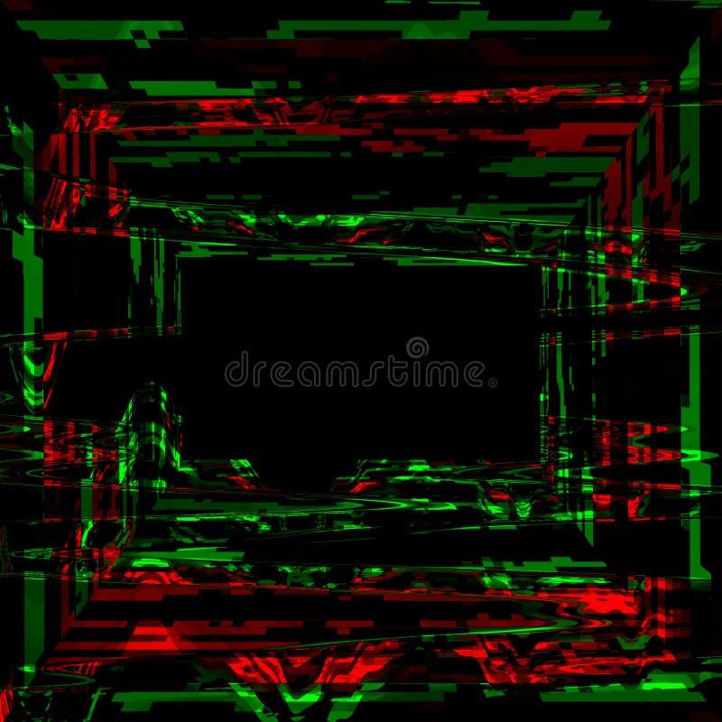 Glitch psychedelische achtergrond Cyberruimte, het digitale abstracte ontwerp van het pixellawaai Het televisiesignaal ontbreekt  stock illustratie