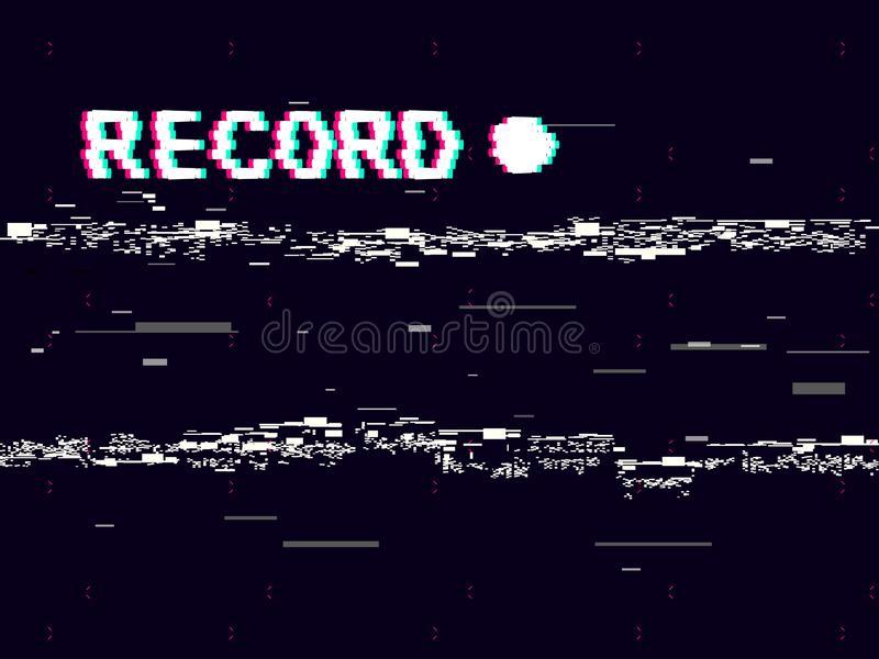 Glitch record with white distortions on black background. VHS concept with abstract geometric shapes. Retro camera stock illustration
