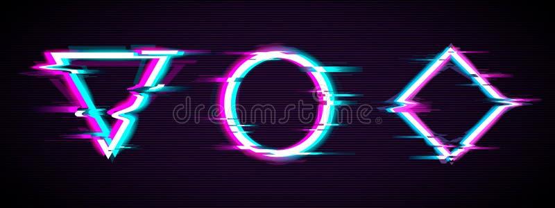 Glitch reeks van verlichte cirkel, driehoek en ruit met vervormingseffect stock illustratie