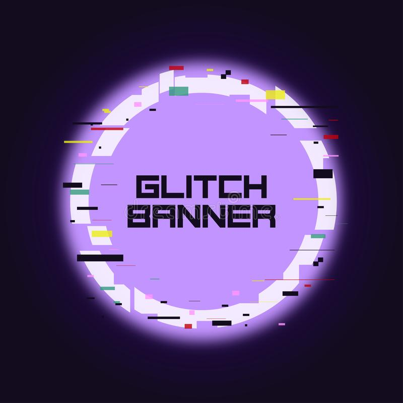 Glitch rounded banner. Glitched neon circle frame with distortion. Trendy design for card, web, poster with broken pixel effect. vector illustration