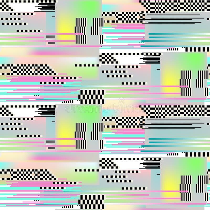 Glitch seamless pattern art. Digital abstract pixel noise effect. vector illustration