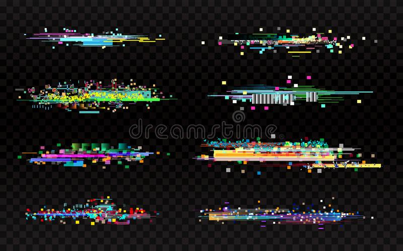 Glitch set on dark background. Collection of color distortions. Data error templates. Random color pixels and shapes stock images