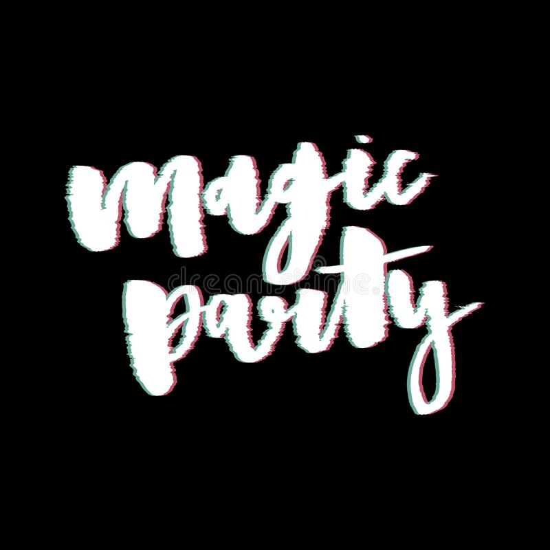 Glitch slogan Magic Party vector print for t-shirt print. stock photos