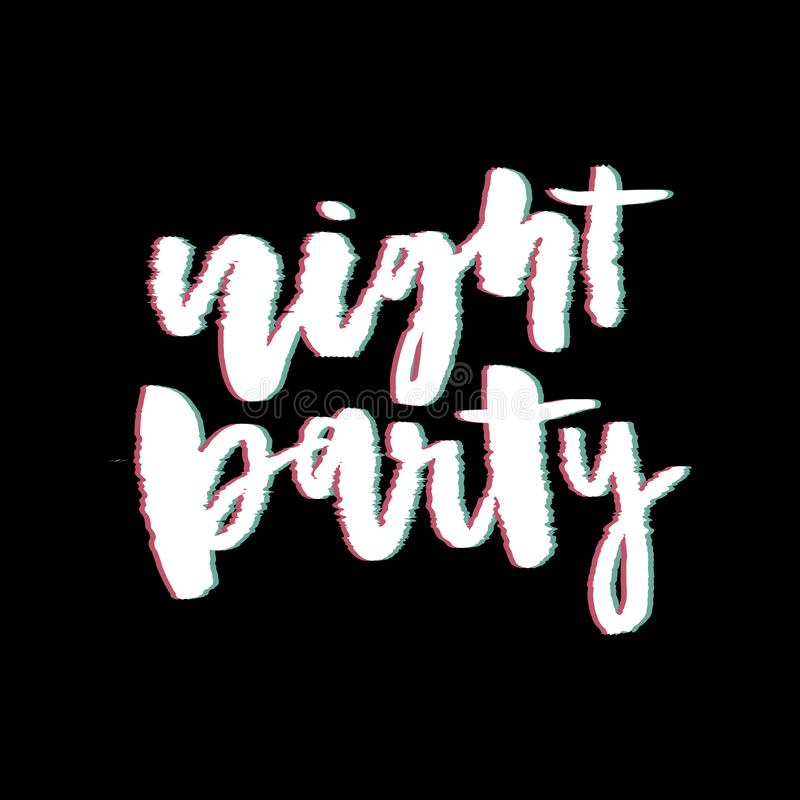 Glitch slogan Night Party vector print for t-shirt print. stock image