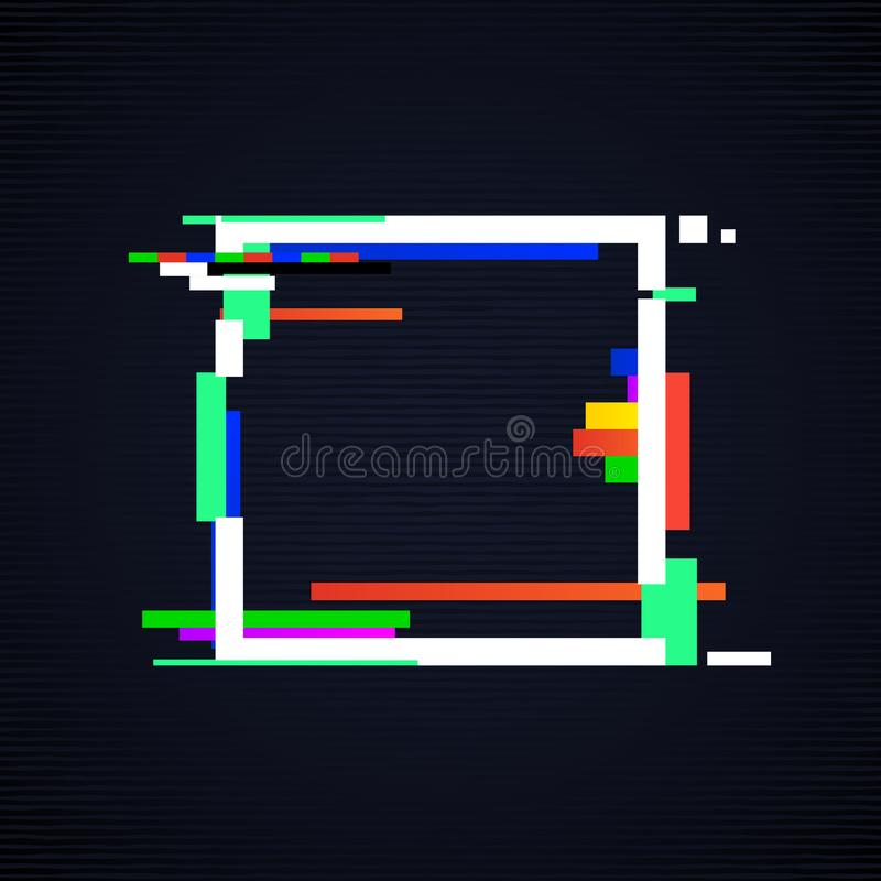 Glitch square frame. Tv distorted signal vector illustration stock illustration