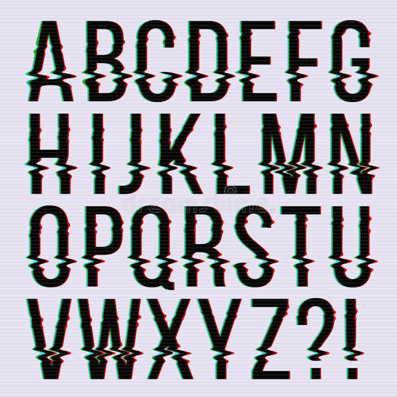 Glitch style, old television screen distortion effect english vector type, font, typeface letters royalty free illustration