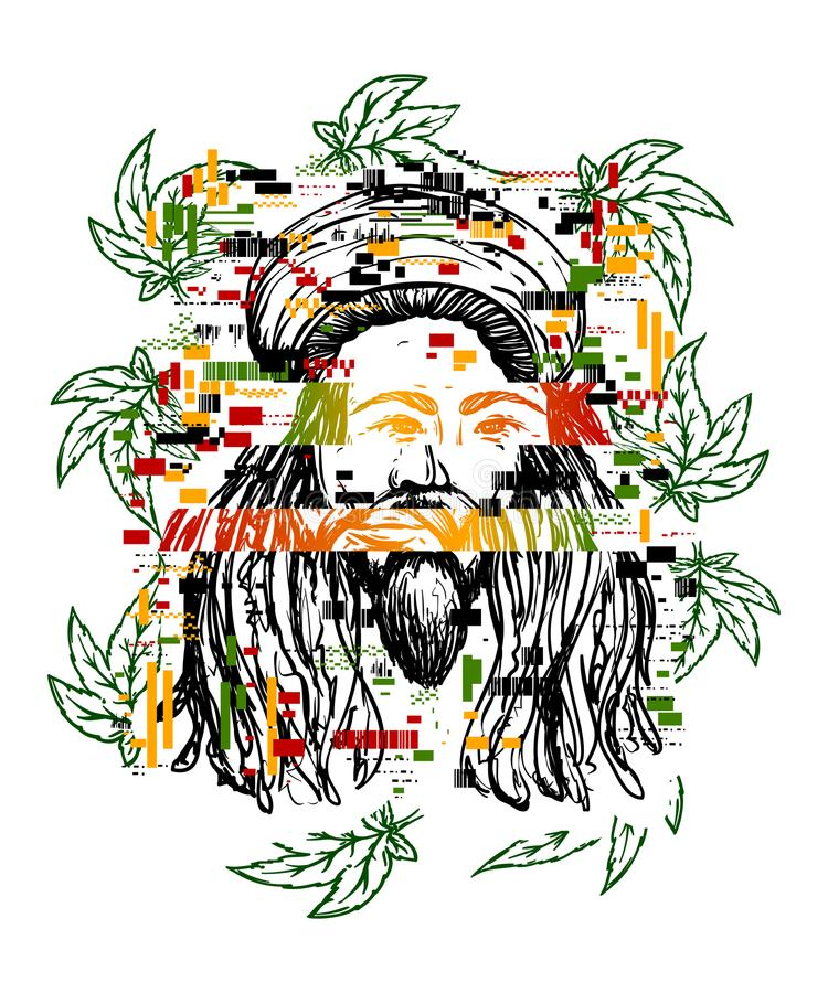 Glitch tattoo.Portrait of rastaman with cannabis leaves and pixel noise. Hand drawn grunge style art. stock illustration